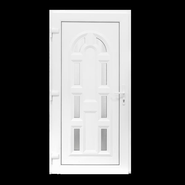 Ușă Exterior PVC - Model Magnolia Alb/Alb