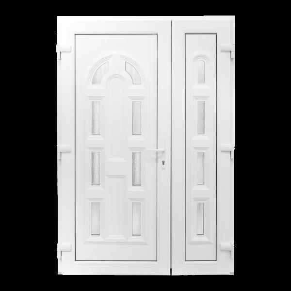 Ușă Exterior PVC - Model Magnolia Cu Pui Alb/Alb