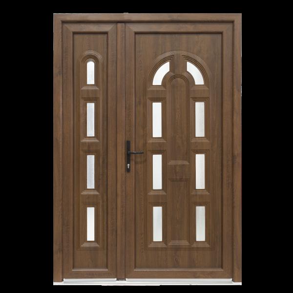 Ușă Exterior PVC - Model Magnolia Cu Pui Alb/Nuc
