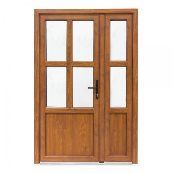 Ușă Exterior PVC - Model Aruba Cu Pui Alb/Stejar Auriu
